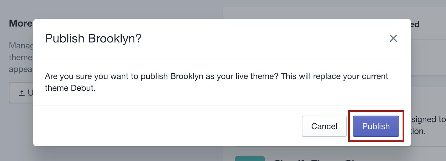 publish theme Shopify