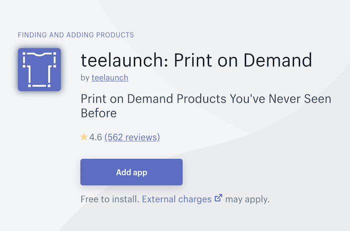 teelaunch add app