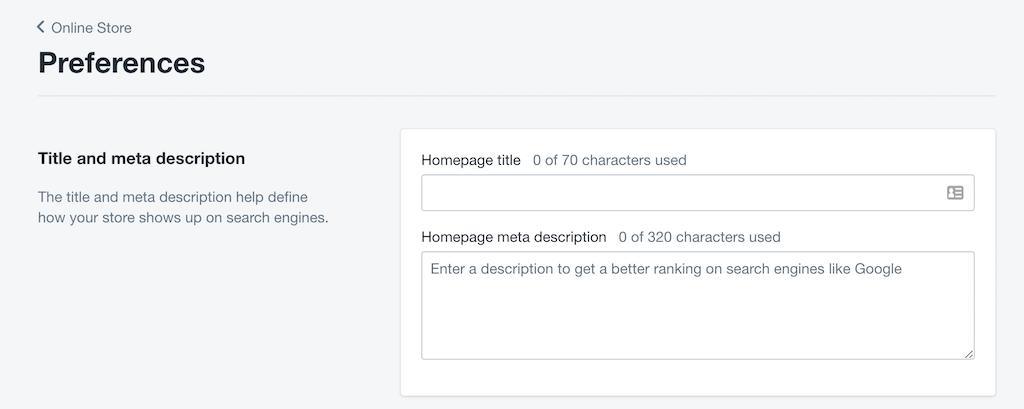 title and meta description Shopify