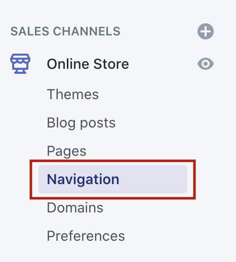 navigation Shopify