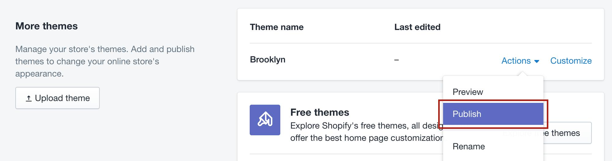 publish Shopify theme